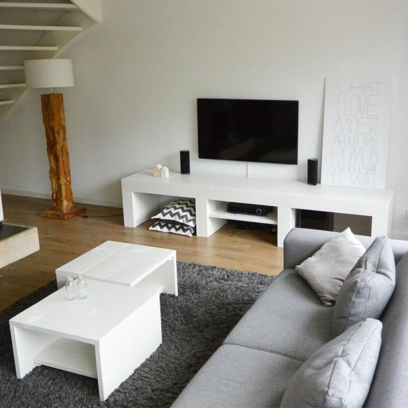 Steigerhouten tv meubel modern ontwerp en op maat voor u for Tv meubel kleine ruimte