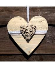 Steigerhouten hart in nieuw hout met Light Grey waslicht grijze beits  ( afmeting 25cm) met hart