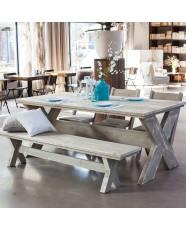 Steigerhouten kruispoottafel, greywash hout