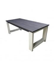 Steigerhouten tafel Riverdale, nieuw hout donker grijs met dekkend wit onderstel