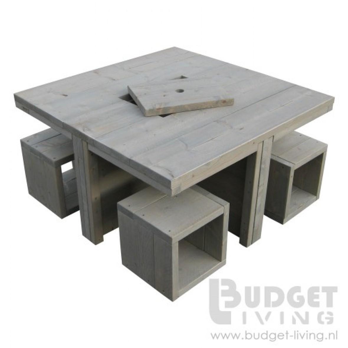 Speeltafel Met Opbergruimte.Steigerhouten Speeltafel Optioneel Met 4 Krukjes