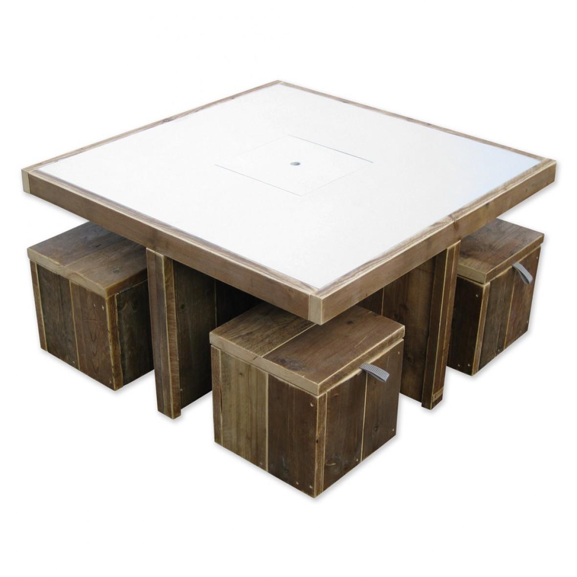 Speeltafel Met Opbergruimte.Steigerhouten Speeltafel Gerko Optioneel Met Krukjes