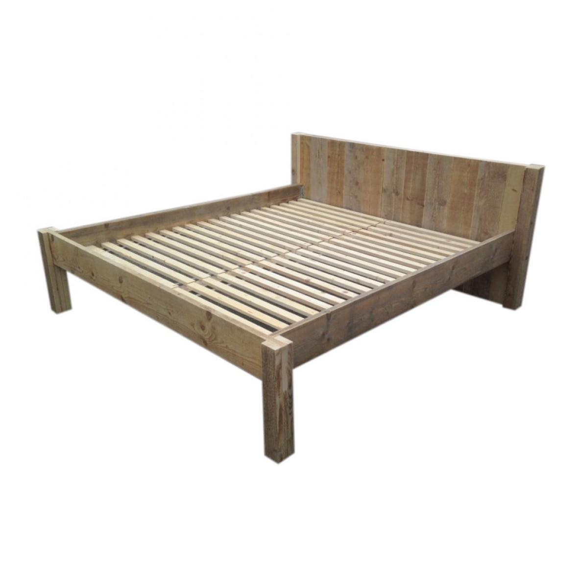 Verwonderend Steigerhouten tweepersoons bed met hoofdbord - Naar uw wens op JX-26