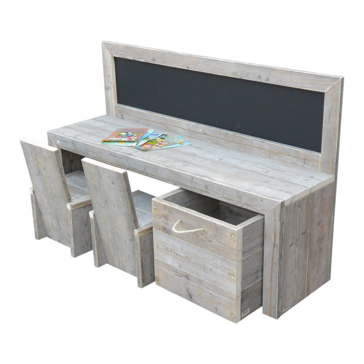 Speeltafel Met Opbergruimte.Steigerhouten Kinderspeeltafel Luca Met Schoolbord