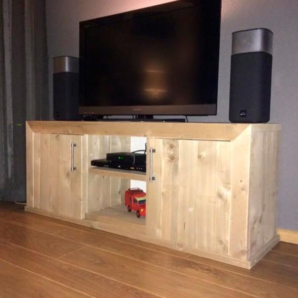 Steigerhouten TV meubel Milan, verouderd hout, onbehandeld7