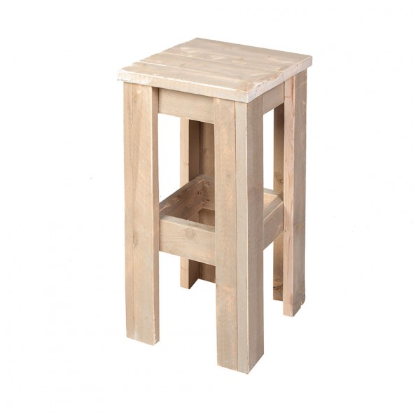 Steigerhouten barkruk, onbehandeld hout
