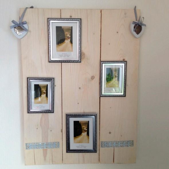 Decoratief wand/fotobord in nieuw hout , witte beits behandeld (afmeting 60x80cm, bxh)