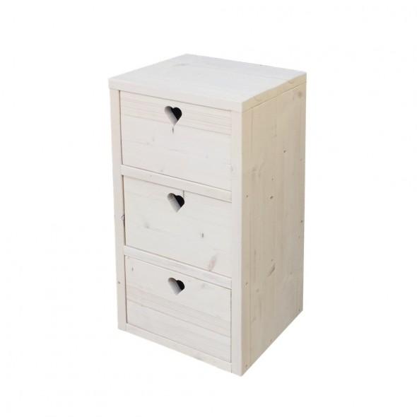 Steigerhouten ladenblok Jesse, nieuw hout met witte beits