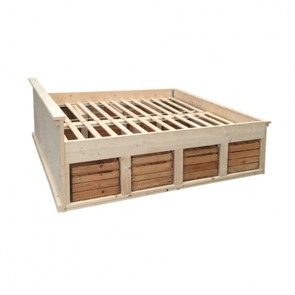 Steigerhouten tweepersoonsbed Charme, nieuw hout en onbehandeld