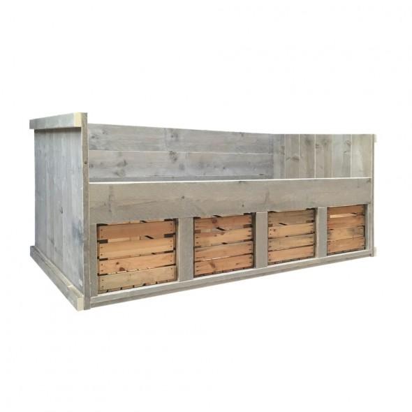 Steigerhouten kajuiten Stoer, verouderd hout en onbehandeld