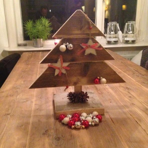 Steigerhouten Kerst Boom, oud hout (onbehandeld)