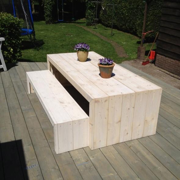 Steigerhouten tafel Claudia 2, Nieuw hout en witte beits behandeling