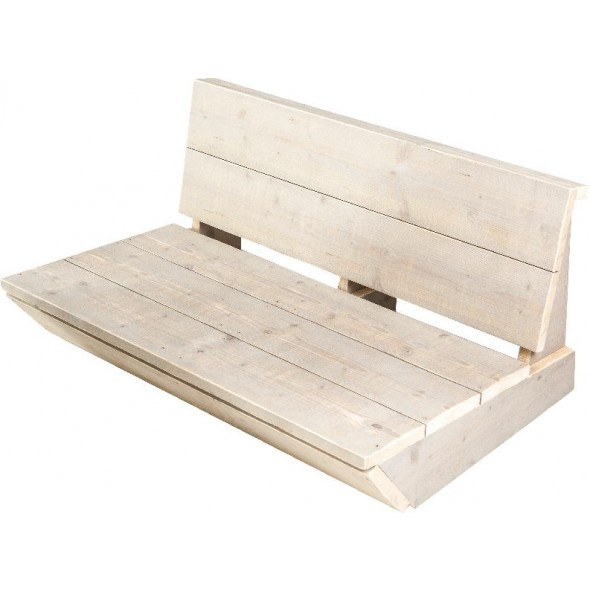 Steigerhouten Loungebank Sauna 3-zits, greywash hout