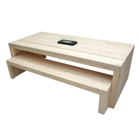 Steigerhouten tafel Claudia 1, Nieuw hout en onbehandeld