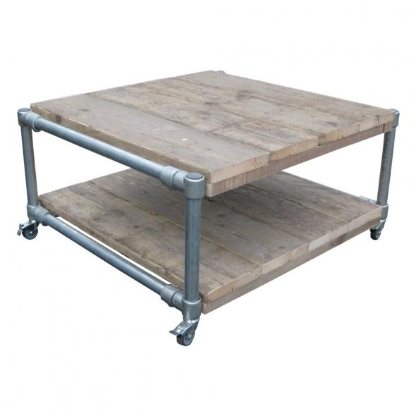 Steigerhouten Salontafel Jantje 1, afmeting 80x80x45cm en van oud hout onbehandeld.