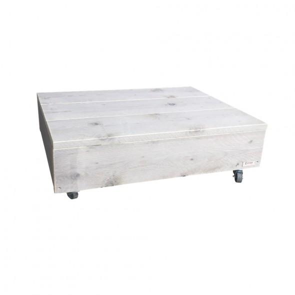 Steigerhouten Salontafel Blok , verouderd hout met witte beits