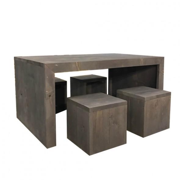 Steigerhouten Kinderspeeltafel Jorg, nieuw hout en donker grijs, met 4 krukjes Mischa