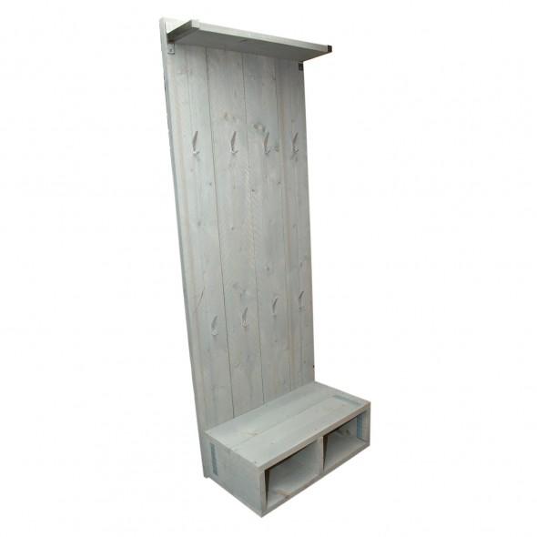 steigerhout kapstok staand 1, nieuw hout met licht grijze beits