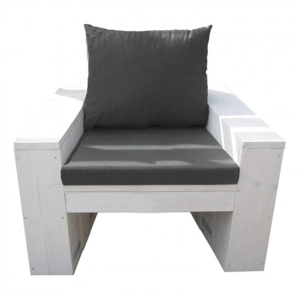 Steigerhout Loungestoel Janny 2- witte beits behandeld ( iets dekkend)