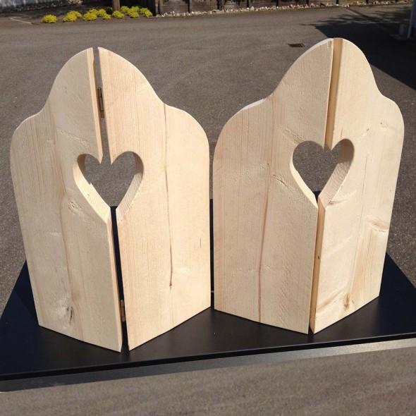 Steigerhout Raamluik duo hart 1, nieuw hout, onbehandeld