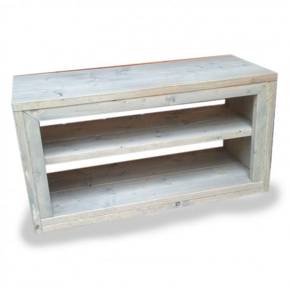 Steigerhout tv meubel Phony 1, Nieuw hout en behandeld in lichte grijze beits