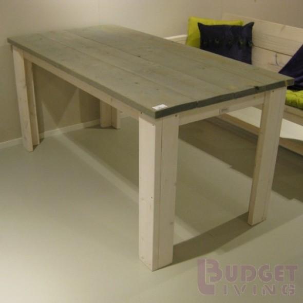Steigerhouten Tafel Budget, onderstel witte beits, blad licht grijs