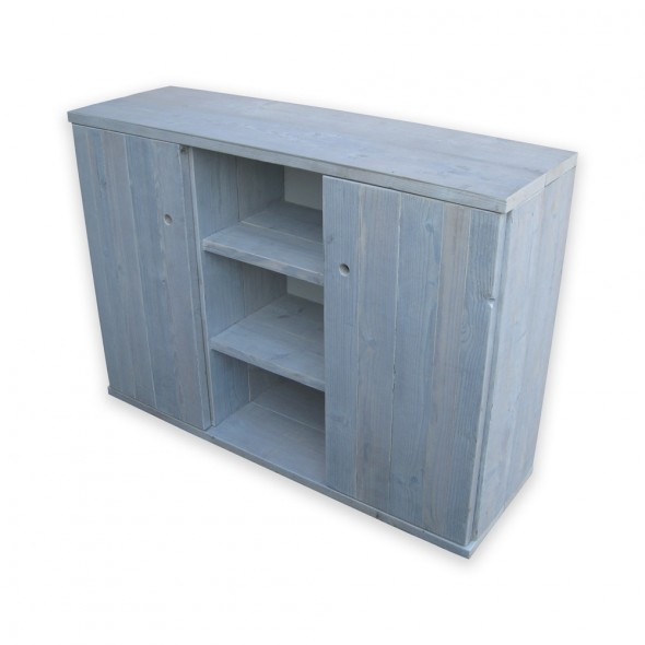 Steigerhouten Dressoir/kantoormeubel Saako, oud hout en witte beits behandeling