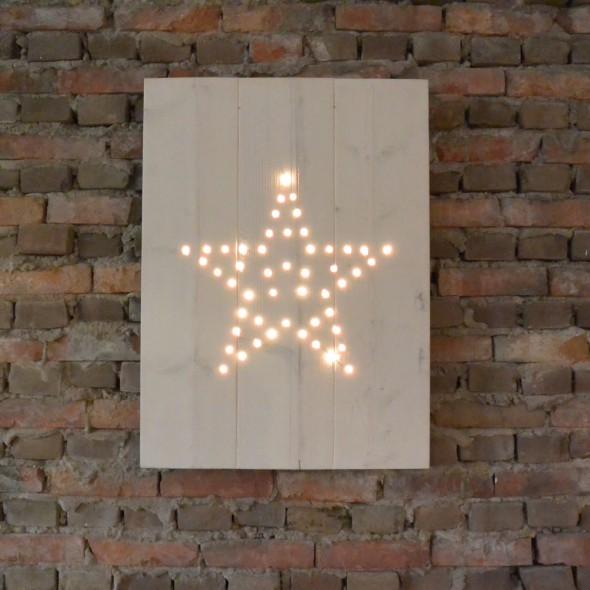 Steigerhouten Kerst-Decoratiebord (met verlichting),nieuw hout en witte beits behandeld