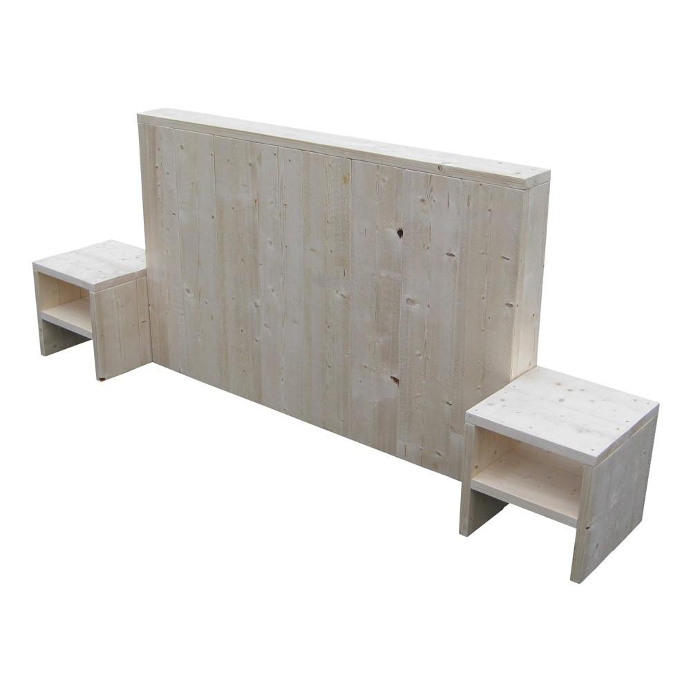 Nieuw Hoofdbord Boxspring.Steigerhouten Hoofdbord Box Optioneel Nachtkastjes