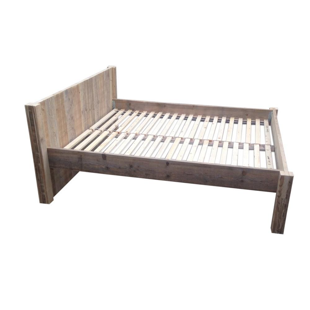 Vaak Steigerhouten tweepersoons bed met hoofdbord - Naar uw wens op #BQ16