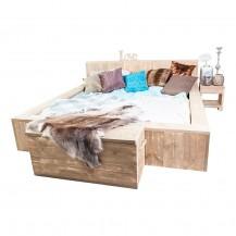 Steigerhouten bed massief 2-persoons, onbehandeld hout
