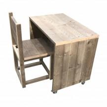 steigerhouten kinderbureau met stoel , verouderd hout  en onbehandeld