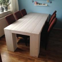 Steigerhouten tafel Mammuth 1, nieuw hout met licht grijze beits behandeld