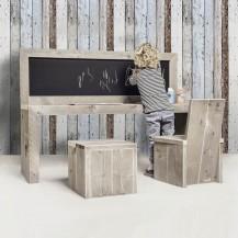 Steigerhouten Kinderspeeltafel Luca met schoolbord