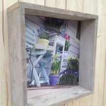 Steigerhout omlijsting foto op canvas