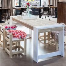 Steigerhouten tafel Fortessa, greywash hout