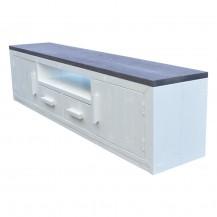 steigerhouten tv meubel Dian, nieuw hout en combinatie dekkend wit en donkergrijze beits
