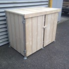 Steigerhouten kliko container ombouw Jasper 1, nieuw hout met steigerbuis frame en onbehandeld