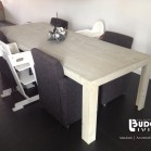 Steigerhouten tafel Milan, nieuw hout, licht grijze beits