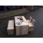 Steigerhouten Kinderspeeltafel Jorg 2, gebruikt hout en onbehandeld