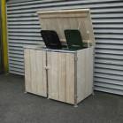 Steigerhouten kliko container ombouw Jasper 3, nieuw hout met steigerbuis frame en onbehandeld