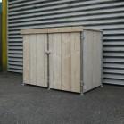 Steigerhouten kliko container ombouw Jasper 5, nieuw hout met steigerbuis frame en onbehandeld