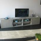 steigerhouten tv meubel Maud, nieuw steigerhout met licht grijze beits