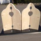 Steigerhout Raamluik duo hart 2, nieuw hout, onbehandeld