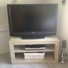 Steigerhout tv meubel Phony 2, Nieuw hout en behandeld in lichte grijze beits