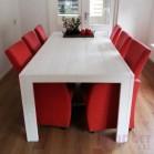 Steigerhouten tafel Milan, nieuw hout met dekkend wit ral 9010