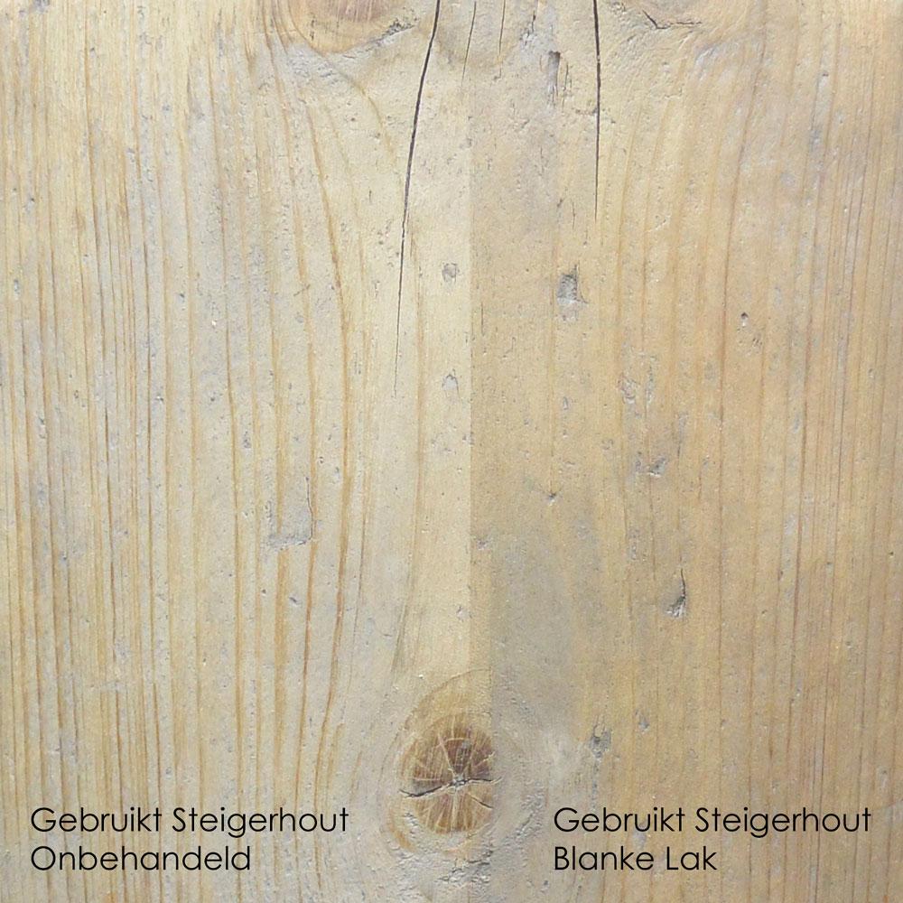 gebruikt steigerhout onbehandeld vs Blanke Lak