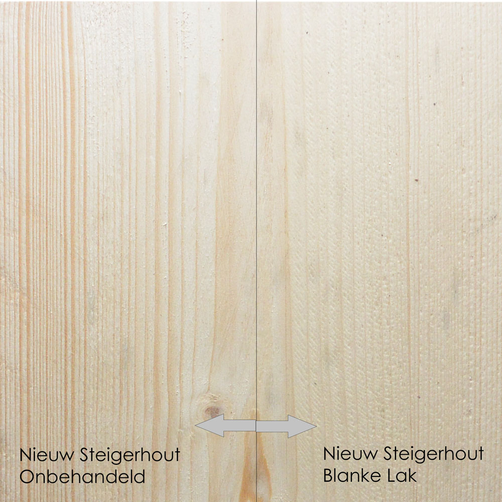 nieuw steigerhout onbehandeld vs blanke lak