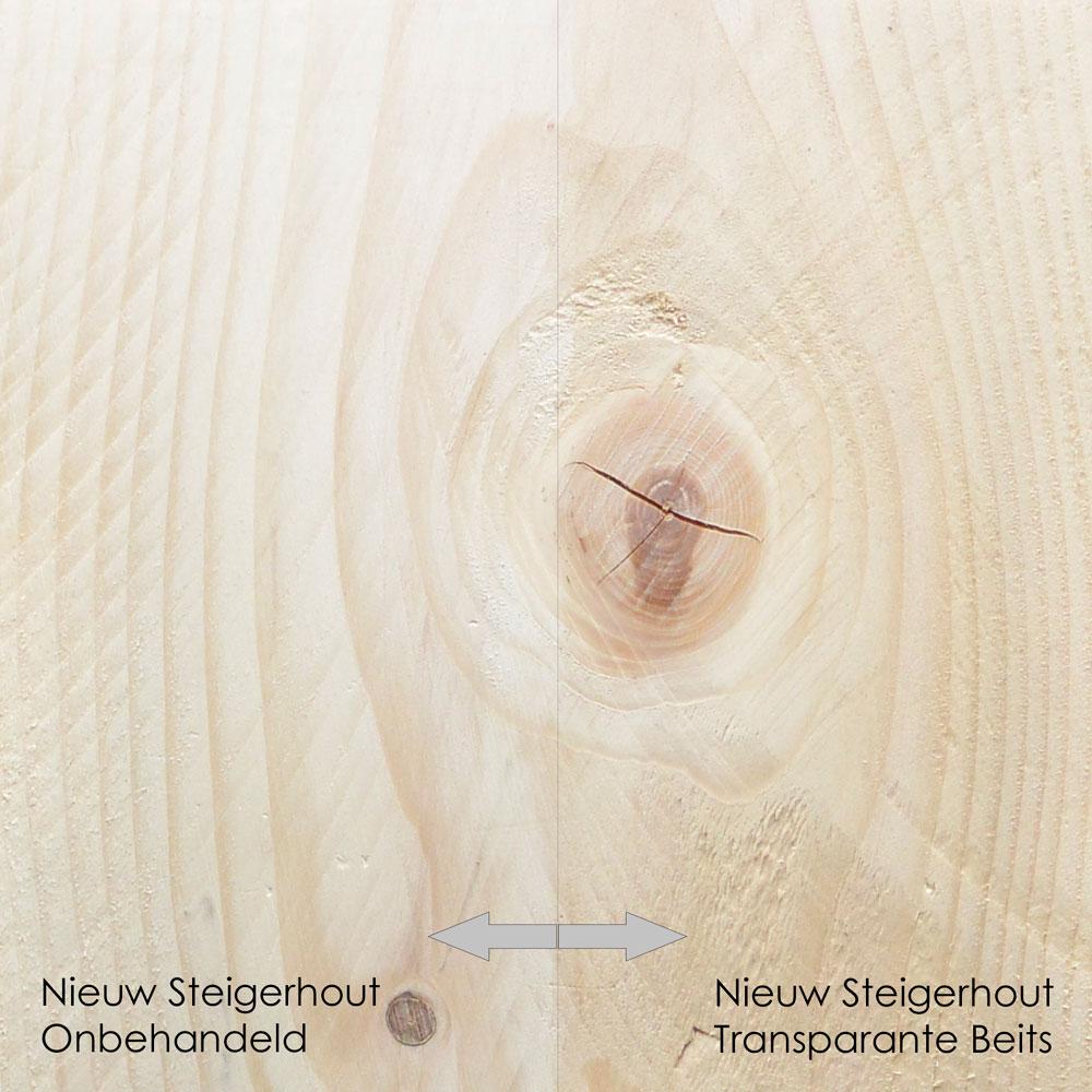 nieuw steigerhout onbehandeld vs transparante beits